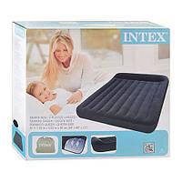 Велюровый надувной матрас Intex 64143 черный двуспальный с подголовником 203х152х23см