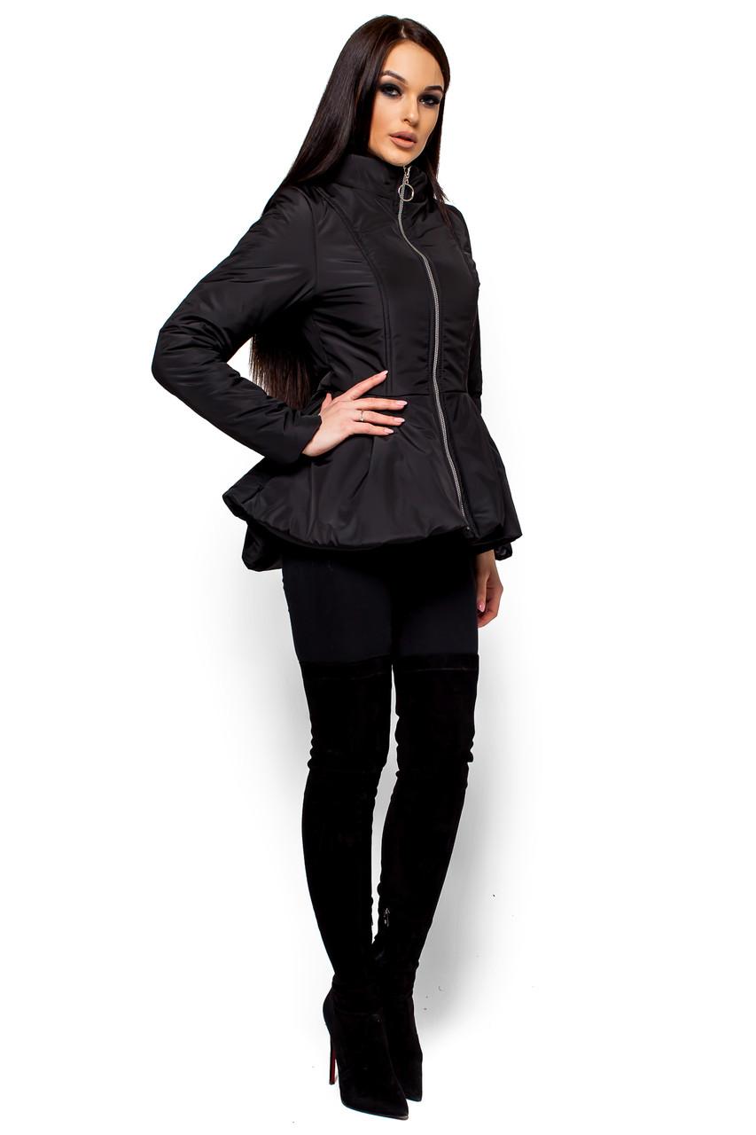 Короткая весенняя куртка с баской Karree Антони черная