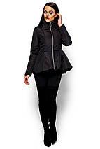 Короткая весенняя куртка с баской Karree Антони черная, фото 3