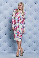 Платье женское принт Цветы беж, фото 1