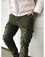 Мужские модные джинсы с карманами карго и с манжетами на резинке ITENO  1870-15 хаки 40993b182aaa1