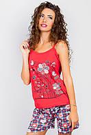 Майка пижамная с цветами 312F002-5 (Красный)