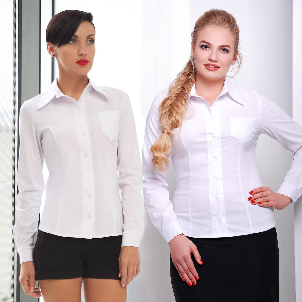 4e30a3a87596 Классическая приталенная белая женская рубашка из хлопка - Интернет-магазин
