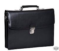 Деловой мужской портфель черный из натуральной кожи Katana
