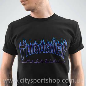 Футболка Thrasher Flame Logo мужская чёрная | Ориг Бирки Трешер с пикой