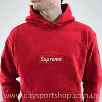 Кенгурушка Supreme с Вышивкой | Красная толстовка Supreme, фото 2