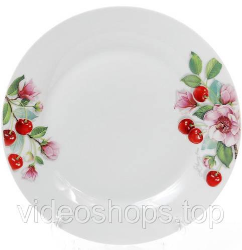 "Набор 6 фарфоровых обеденных тарелок ""Вишня"" Ø27см"
