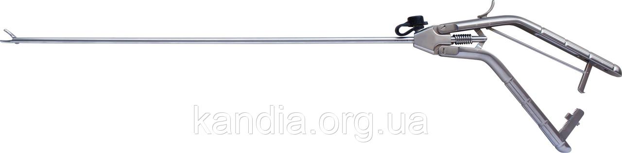 Иглодержатель эндоскопический, бранши загнуты влево, пистолетная рукоятка Shentu