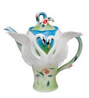 """Фарфоровый заварочный чайник """"Лебеди"""" (Pavone) FM- 76/ 1"""