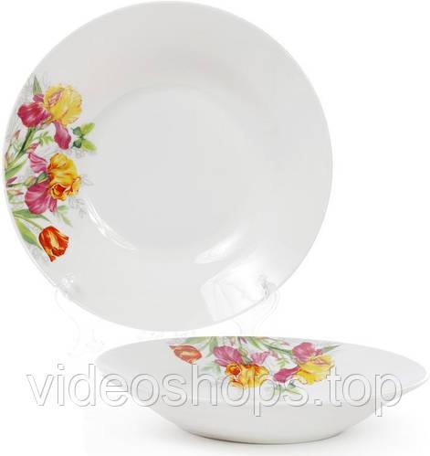 """Набор 6 фарфоровых суповых тарелок """"Огненные ирисы"""" Ø23см"""