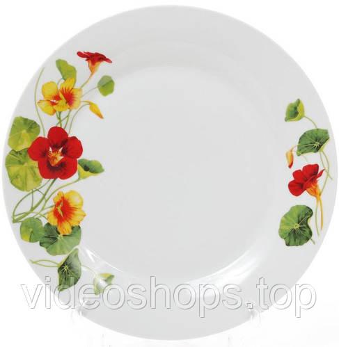 """Набор 6 фарфоровых обеденных тарелок """"Настурция"""" Ø27см"""