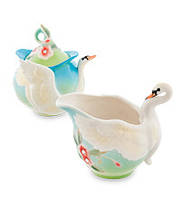 "Фарфоровый набор молочник и сахарница ""Лебеди"" (Pavone) FM- 76/ 2"