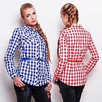 Женская удлиненная клетчатая рубашка из фланели с ремешком