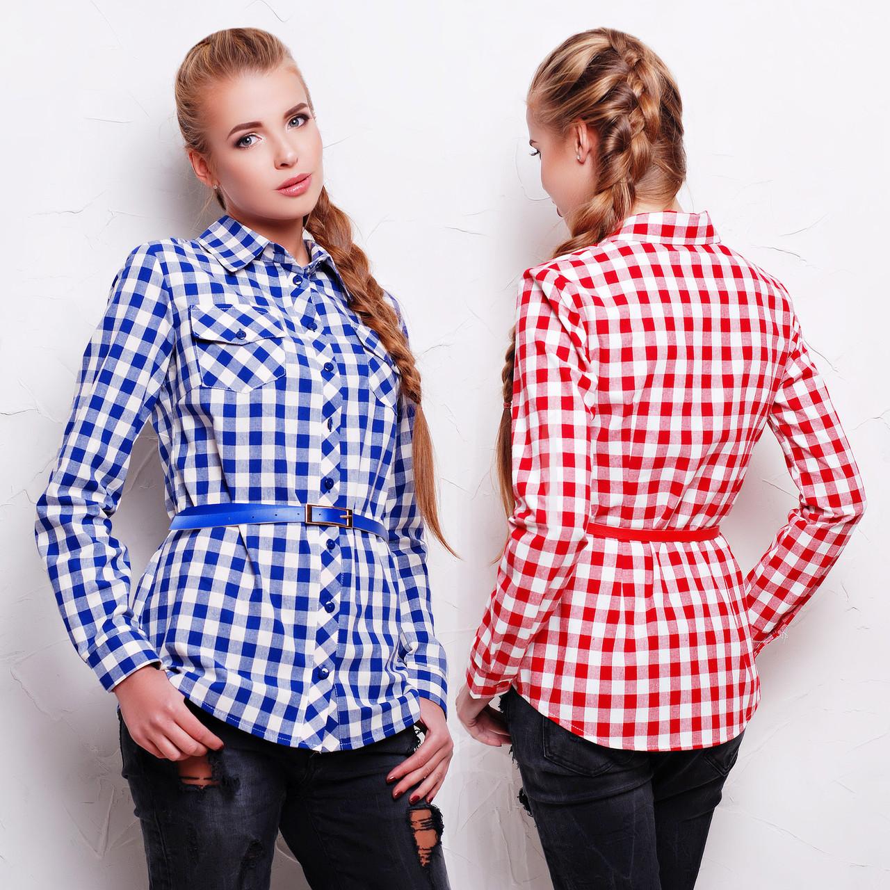 ccf87a961a4 Купить Женская удлиненная клетчатая рубашка из фланели с ремешком по ...
