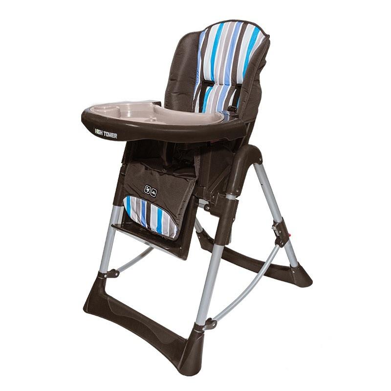 """Стульчик для кормления """"HIGHTOWER"""", Malibu коричневый с голубыми полосками"""