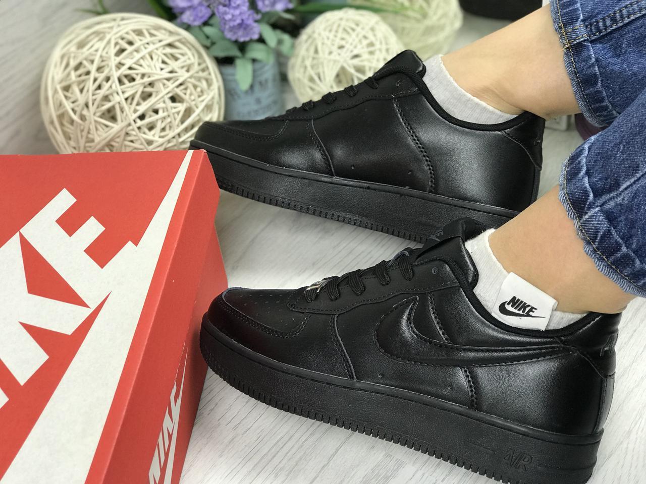 0e83c9bd Низкие кроссовки Nike Air Force, женские, черные (Реплика) -  Интернет-магазин