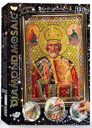 Алмазная живопись мозаика по номерам на холсте 20*30см DankoToys DT DM-02-07 Икона св. Николай
