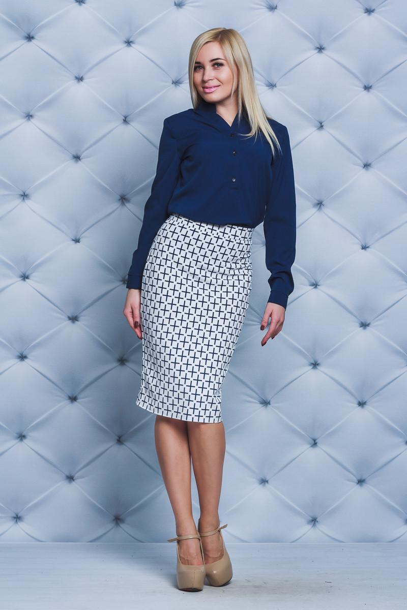 Костюм женский блуза+юбка карандаш синий