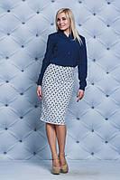 Костюм женский блуза+юбка карандаш синий, фото 1