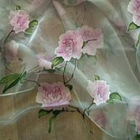 Тюль сиреневая роза