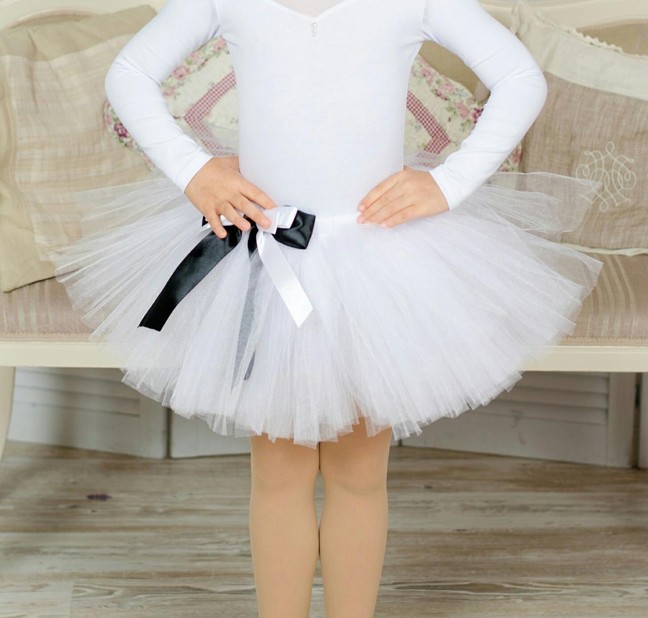 Юбочка белая детская фатиновая на резинке. Пошив в любом цвете