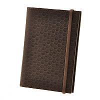 Кожаная обложка для паспорта 2.0 Карбон Орех кожа