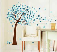 """Интерьерная наклейка на стену """"Дерево Голубые Цветы AY9026B"""""""