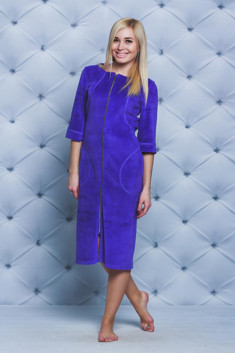 Женский велюровый халат длинный фиолет