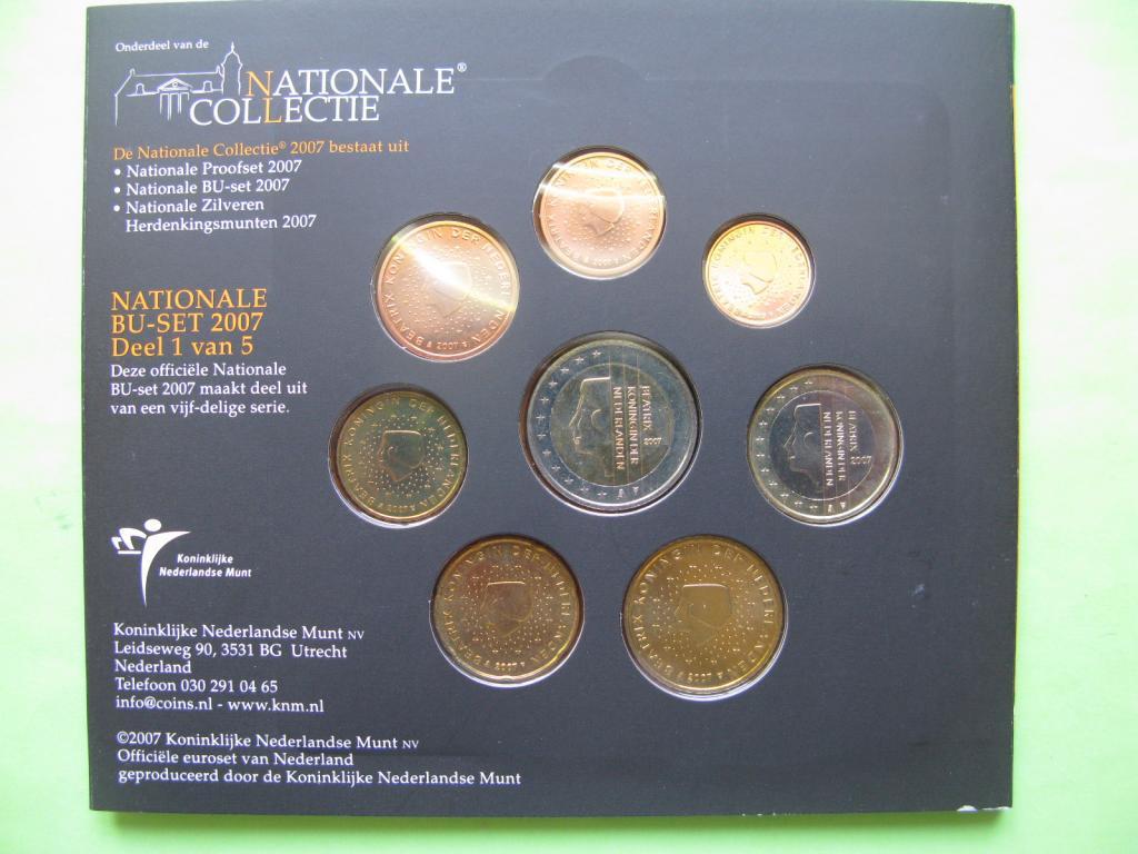 Нидерланды официальный набор евро монет 2007 г.