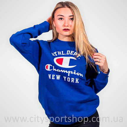 Champion свитшот женский • Бирки ориг. • Синий свитшот | Качественная реплика, фото 2