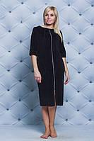 Женский велюровый халат длинный т-синий, фото 1