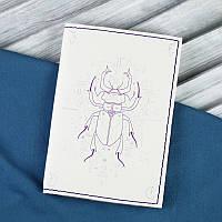 Кожаная обложка для паспорта Скарабей + блокнотик