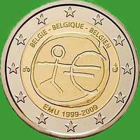 Бельгия 2 евро 2009 г. 10 лет экономическому и валютному союзу. UNC