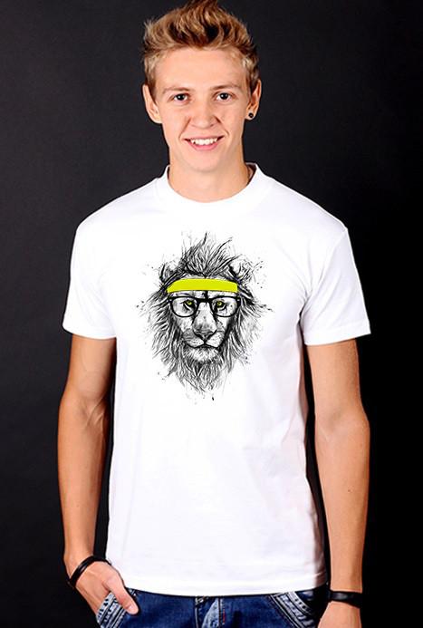 """Біла футболка чоловіча з Левом """"Sport далеко від центру міста"""" з принтом спортивна хіпстер Hipster style collection"""