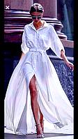 Платье разлетающее парящее пархающее нежное белое льнянное летнее свадебное