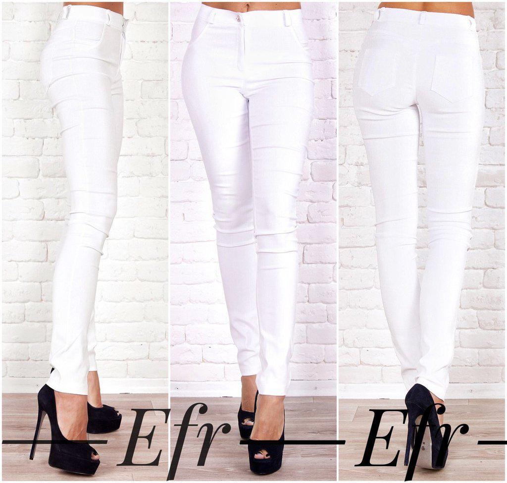 Стрейчевые штаны джинсы Белые с эффектом утяжки разные цвета