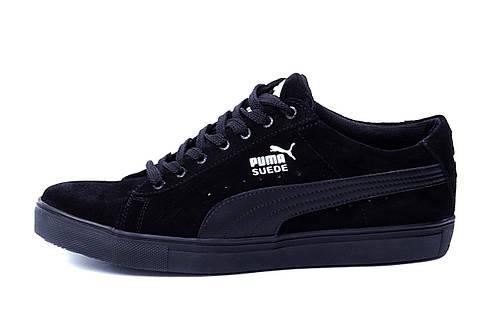 Мужские кожаные кеды Puma SUEDE Black