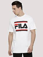Футболка Fila белая с логотипом, унисекс (мужская,женская,детская)