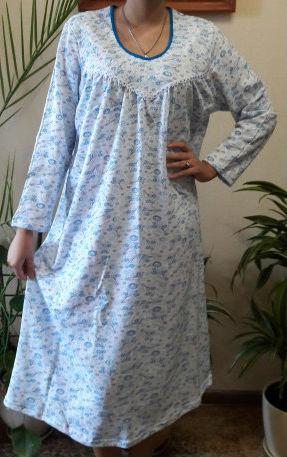 04aa34bb0c98b2d Теплая длинная ночная сорочка женская (ночнушка) большого размера хлопковая  с начесом длинный рукав (