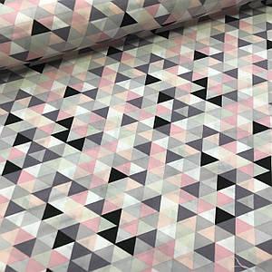 Хлопковая ткань польская бязь треугольники мелкие розовые, пудровые, серые, графитовые №98