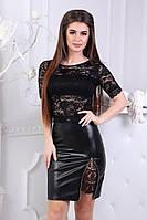 Черный стильный молодежный летний женский костюм: гипюровый топ + кожаная юбка. Арт-2676/39