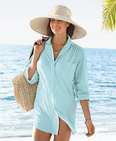 Нежная голубая, розовая, белая другие цвета льняная рубашка длинная свободная прозрачная пляжная, фото 1