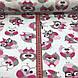 Бязь польская совы в очках розово-серо-малиновые на белом №93, фото 3