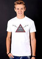 Белая футболка мужская спринтом спортивная хипстер Hipster style collection