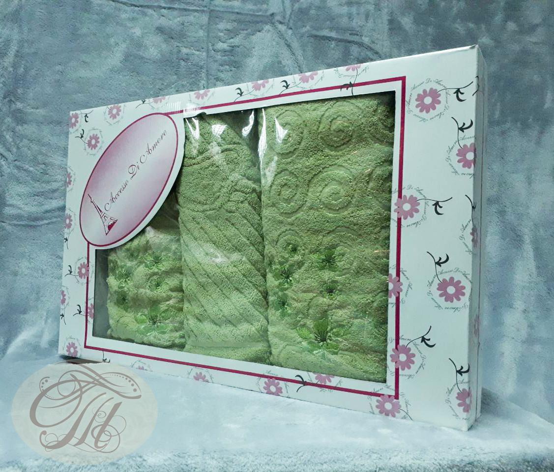 Набор махровых полотенец 3 шт Букетик