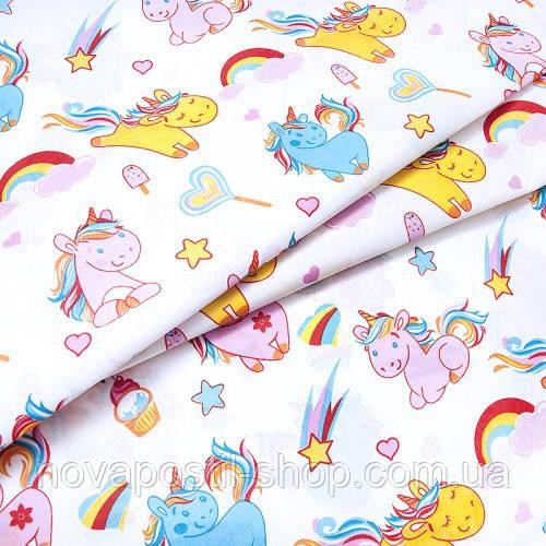 Ткань для детского постельного белья, поплин Единороги разноцветные