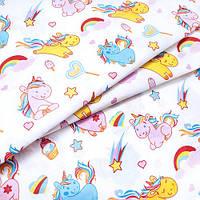 Ткань для детского постельного белья, поплин Единороги разноцветные, фото 1