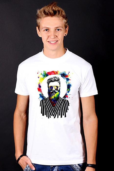"Белая футболка мужская ""True Hipster"" с принтом спортивная хипстер Hipster style collection"
