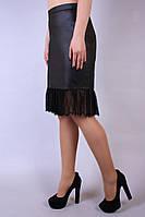 Юбка кожаная Кожа гипюр №1, юбка кожзам, шкiряна спiдниця
