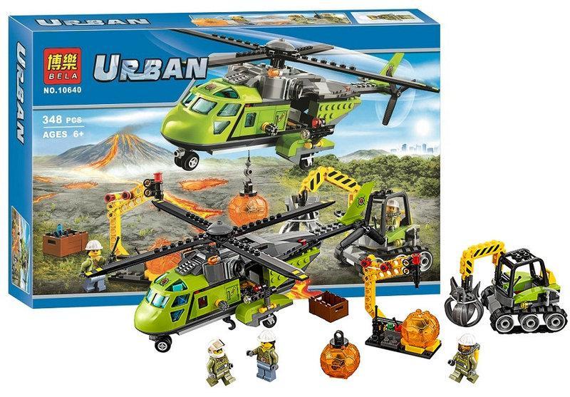 """Конструктор Bela 10640 Urban """"Грузовой вертолёт исследователей вулканов"""" 348 деталей. (Аналог LEGO City 60123)"""